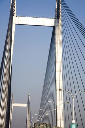Vidyasagar Setu  second bridge over river Hooghly one of latest attractions of the city,Calcutta now Kolkata,West Bengal,India