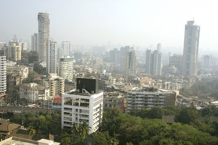 Skyline of city of Mumbai in morning mist,Bombay Mumbai,Maharashtra,India