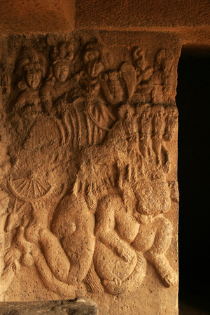 figurines: Wall carvings at Bhaja caves an Indian heritage site built during the reign of king Ashoka,Lonavala,Maharashtra,India