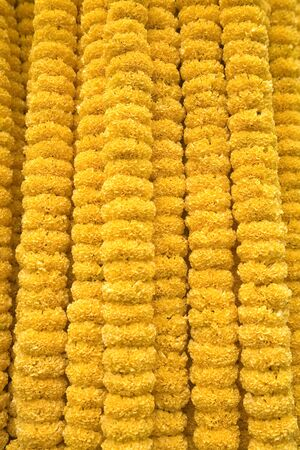 Yellow flowers garlands for sale market,Calcutta now Kolkata,West Bengal,India Stock Photo - 85785133