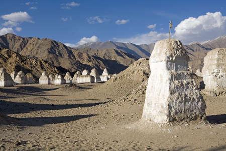 Buddhist stupas in typical Ladakh landscape,Shey,Ladakh,Jammu and Kashmir,India Stock Photo