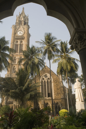 Rajabai Tower an iconic landmark at campus of Mumbai University in Bombay Mumbai Bombay,Maharashtra,India