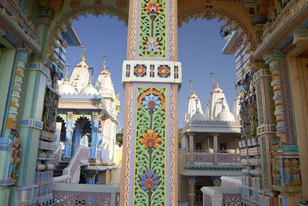 Decorative pillar of Jain Temple of Jhakhuau,Jhakhau,Kutch,Gujarat,India Stock Photo