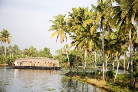 kerala backwaters: Luxury houseboat and coconut trees in Backwaters,Alleppey,Kerala,India LANG_EVOIMAGES