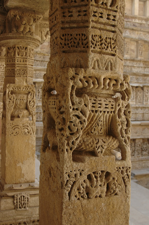 Carved pillars in Patan Jain temple,Patan,Gujarat,India