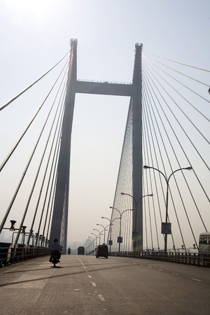 Vidyasagar Setu second bridge over river Hooghly one of latest attractions of city,Calcutta now Kolkata,West Bengal,India LANG_EVOIMAGES