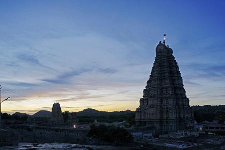 Virupaksha or Pampapati temple 13th-17th century,Hampi,Vijayanagar,Dist Bellary,Karnataka,India UNESCO World Heritage Stock Photo