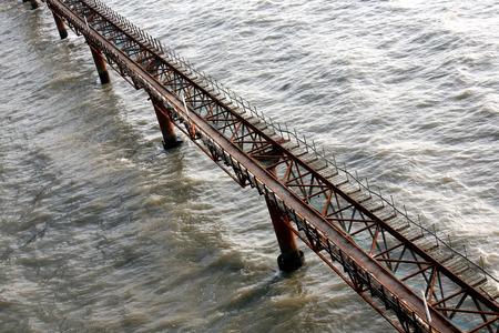 Temporary bridge at the construction site of the Bandra Worli Sea link on Arabian Sea in Western suburb of Bombay now Mumbai,Maharashtra,India