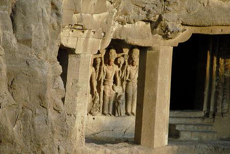 bath: Statues in caves no. 28 from (sita bath or dhumar leni) cave no. 29,Ellora,Aurangabad,Maharashtra,India