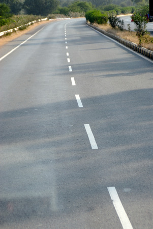 Highway with white stripe marking Stock fotó