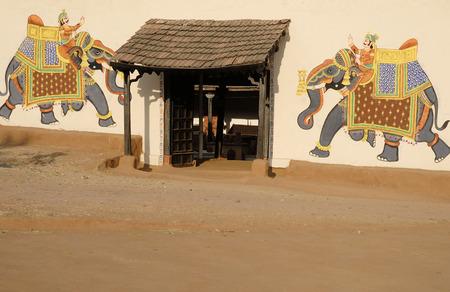Rajasthani wall painting at Shilpgram,Udaipur,Rajasthan,India
