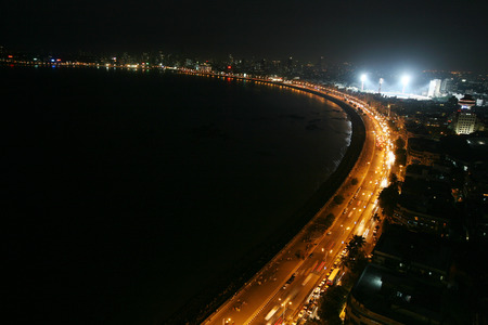 An aerial view of the Marine Drive and Wankhede stadium at night,Bombay now Mumbai,Maharashtra,India