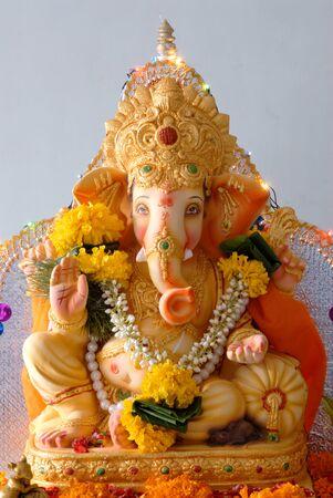 Lord Ganesh ganpati elephant headed god idol showing peacefully blessing Stock Photo
