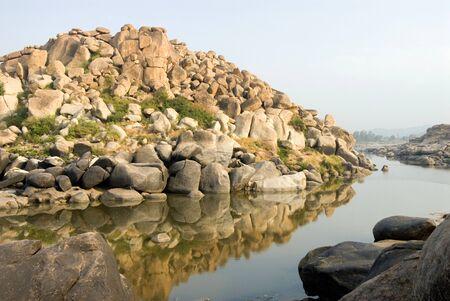 River Tungabadhra and beautiful boulders in morning,Karnataka,India