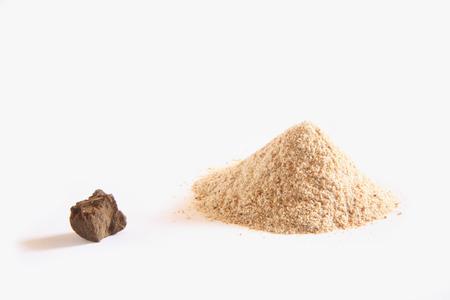 Indian spice,Asafoetida powder and hard Lump Hing Ferula asafoetida on white background