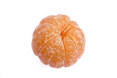Fruits,peeled off juicy orange on white background