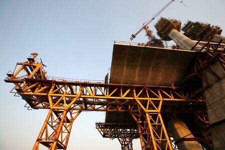 construction project: Construction site of the Bandra Worli Sea link on Arabian Sea in Western suburb of Bombay now Mumbai,Maharashtra,India