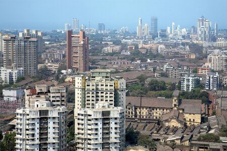 Aerial view of Parel suburb with high-rise of different architectural designs old and new in background,Bombay Mumbai,Maharashtra,India