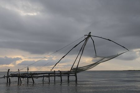 Chinese fishing net at Kochi harbour,Kochi,Kerala,India
