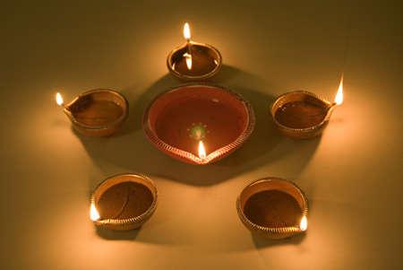 One Big And Five Small Diwali Lamps Ready To Celebrate Diwali Deepawali  Festival,India