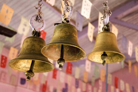 konkan: Brass temple bells in Padmavati temple,Konkan,Chaul,Taluka Alibag,Raigadh,Maharashtra,India