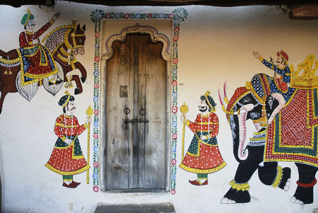 Door with wall painting,Shilpagram,Udaipur,Rajasthan,India
