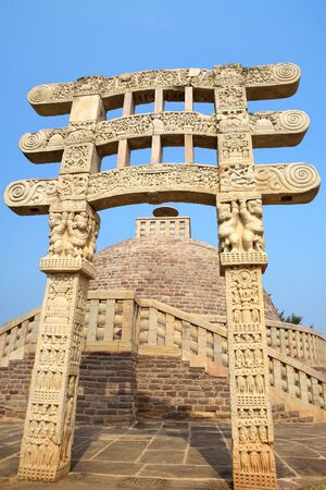 Stupa 3 wall encircling and stapes to go-up with gateway in front  situated northeast of main stupa 1,Sanchi,Bhopal,Madhya Pradesh,India Stock Photo
