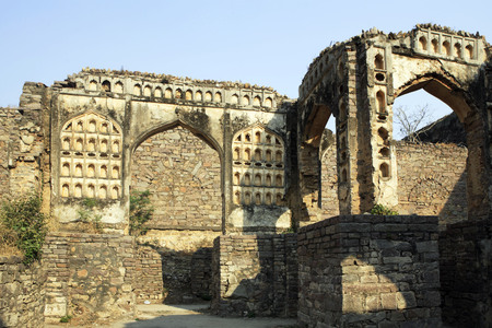 Golconda fort built by Mohammed Quli Qutb Shah 16th century view of ruined walls,Hyderabad,Andhra Pradesh,India