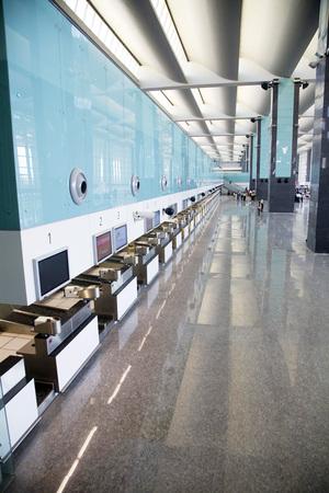 Check-in counters of Bengaluru international airport,Bangalore,Karnataka,India Stock Photo