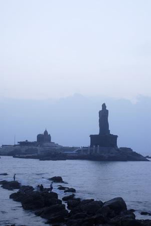 Swami Vivekananda Rock Memorial and Thiruvalluvar statue immortal poet at dawn,Kanyakumari,Tamil Nadu,India