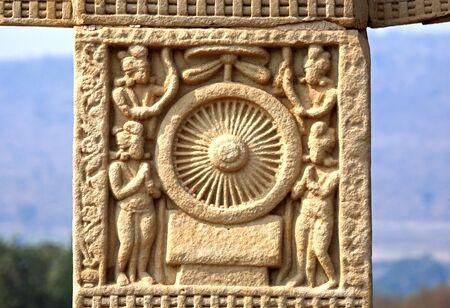 Details of south pillar second panel west gateway  Stupa no 1,Sanchi,Bhopal,Madhya Pradesh,India