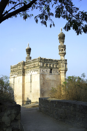 Masjid on hillock with minarets of mogul architectures inside Golconda,Hyderabad,Andhra Pradesh,India LANG_EVOIMAGES