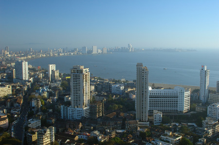 Aerial view of central Mumbai city showing Marine drive queens necklace and building,Bombay Mumbai,Maharashtra,India