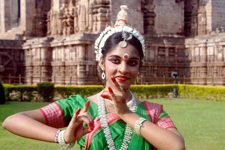 Dancer performing classical traditional odissi dance Stock Photo