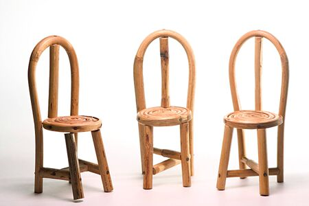 Concept meeting,handicraft,three cane chair,India Stock Photo