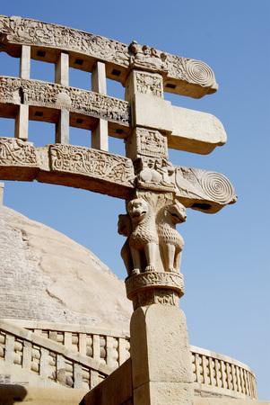 North  gateway or torna of maha stupa no 1 with depiction of stories engrave decorations erected at Sanchi,Bhopal,Madhya Pradesh,India