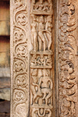 Details of stone carvings from temple 31 near stupa 5 built during 6th or 7th century,Sanchi near Bhopal,Madhya Pradesh,India LANG_EVOIMAGES