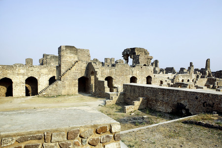 Ruined of Golconda fort built by Mohammed Quli Qutb Shah 16th century,Hyderabad,Andhra Pradesh,India