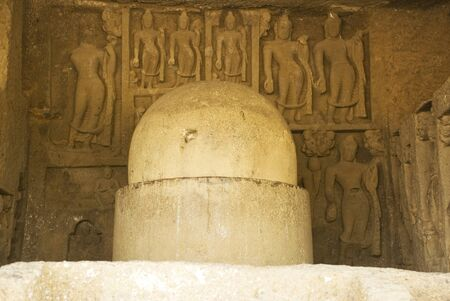 Buddhist Kanheri caves Krishanagiri at Sanjay Gandhi National Park,Borivali,Bombay Mumbai,Maharashtra,India Heritage Stock Photo
