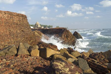 Masilamaninathar temple Tha pandya king Maravarman Kulasekara built in 1305 AD  front portion damaged due to sea erosion,Tamil Nadu,India Stock Photo