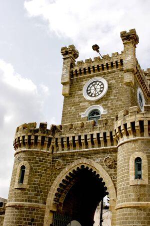 Clock tower at Bedi gate naka black stone structured,Rajkot,Saurashtra,Gujarat,India