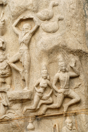 figurines: Arjunas Penance or Bhagirathas Penance massive open air bas-relief monolith in 7th century located in Mahabalipuram Tamil Nadu,India