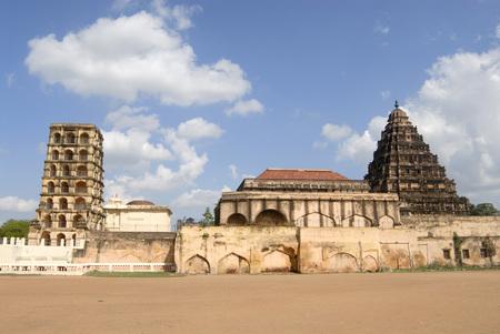 Bell Tower darbar hall and gooda gopuram arsenal tower multi-storeyed structures at Thanjavur palace complex,Thanjavur,Tamil Nadu,India Stock Photo