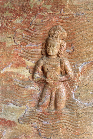 Cave cut into sandstone hill 5 kms from vidish gupta shrines no 5 showing Vishnu in boar incarnation topped with frieze of gods,Udaygiri,Bhopal,Madhya Pradesh,India