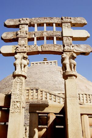 emperor ashoka: Great stupa no 1 oldest stone structure of Buddhist architectural forms South gateway view at Sanchi,Bhopal,Madhya Pradesh,India LANG_EVOIMAGES