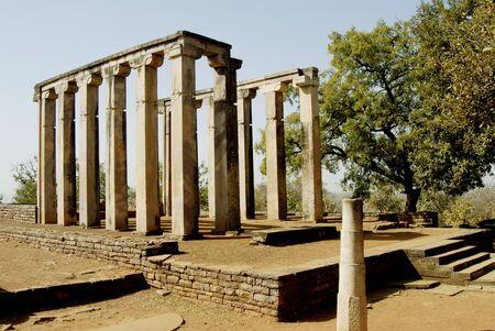 Ruined Buddhist architectural forms at Sanchi,Bhopal,Madhya Pradesh,India LANG_EVOIMAGES