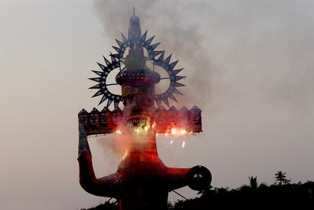 Demon Ravana face with firework on Dussera dusera Festival