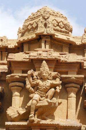 Statue of lord Kartikeya mounted on peacock on facade of Sri Arumugan temple inside Brihadeshwara temple,Thanjavur,Tamil Nadu,India UNESCO World Heritage