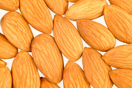 Almond very healthy natural dry fruit on white background Stock Photo