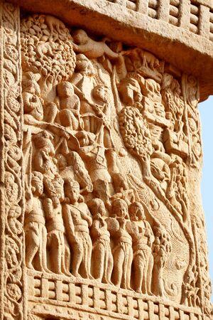 Mahakapi Jataka close-up of west gateway of stupa 1 front view,Sanchi near Bhopal,Madhya Pradesh,India